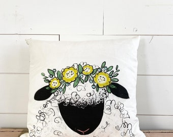 20x20 Pillow - Sheep with Flowers / Yellow Floral Back