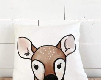 20x20 Pillow - Deer Fawn / Yellow Plaid Back