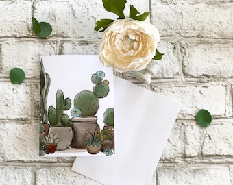 Succulents Ana Cactus - Blank Greeting Card