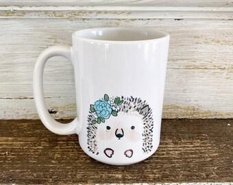 Hedgehog with Floral Crown - 15oz Mug - Ships Free