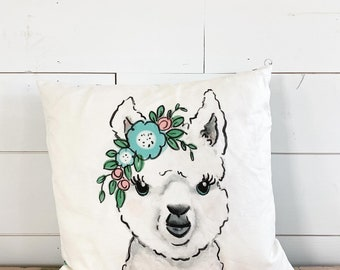 Made to order - 20x20  Pillow - Alpaca with Flowers /Blue Floral Back