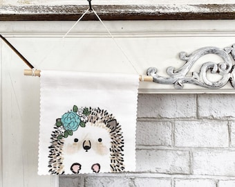 Ready to ship - Hedgehog Banner/Wall Hanging/ Pennant