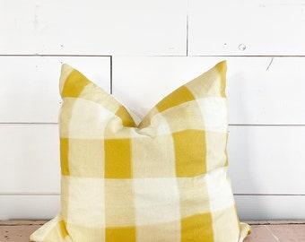 20x20 Yellow Plaid Pillow