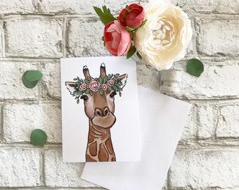Giraffe - Blank Greeting Card