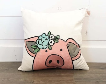 Pig with Flowers/ Averie Floral Back   - 20x20 Pillow