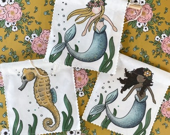 Mermaids and Seahorse- Banner/Wall Hanging/ Pennant