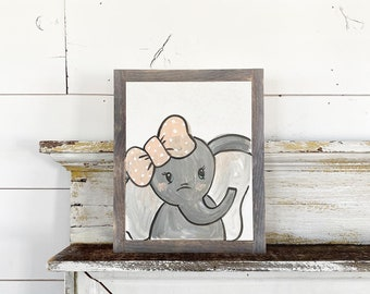 Elephant with Pink Bow