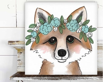 Fox with Floral Crown Printed Canvas