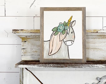 8x10 Hand Painted Sign - Unicorn with Flowers