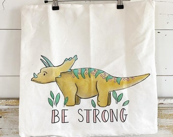 20x20 Pillow Cover | Triceratops- Be strong