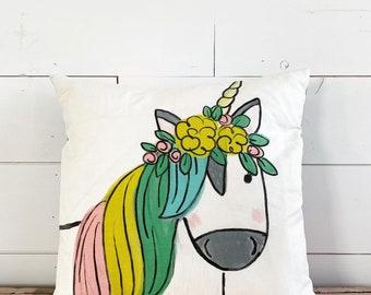 20x20  Pillow - Rainbow Unicorn  / Yellow plaid  Back