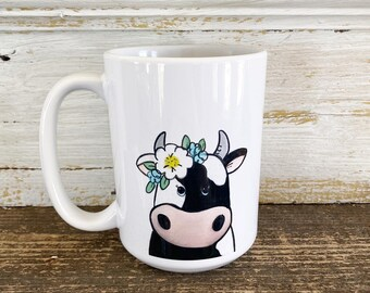 Cow with Floral Crown - 15oz Mug - Ships Free