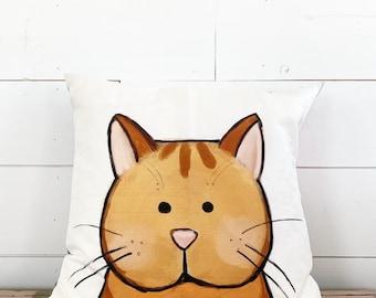 20x20  Pillow - Orange Cat /Gray Floral Back