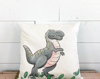 Made to order - 20x20 Pillow -  T-Rex / Black Plaid Back