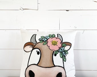 20x20  Pillow - Brown Cow / Pink Floral Back