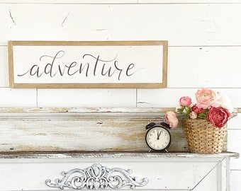 Adventure / Hand Lettered and Painted sign on Wood Canvas / 6x24