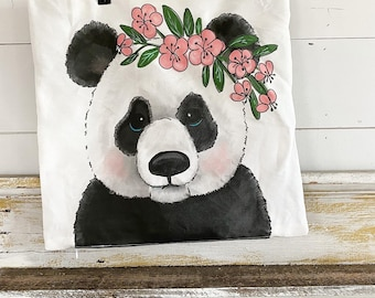 20x20 Pillow Cover | Panda with Flowers