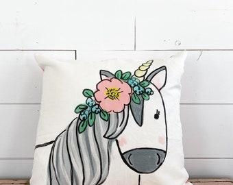 20x20  Pillow - Floral Unicorn  / Yellow Plaid Back