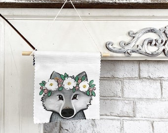 Ready to ship - Wolf Banner/Wall Hanging/ Pennant