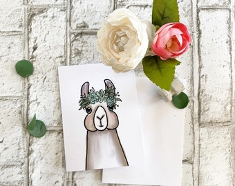 Llama with Succulent Crown - Blank Greeting Card