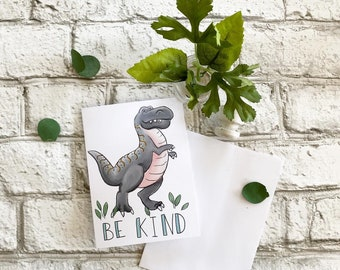 T-Rex (be kind!) - Blank Greeting Card