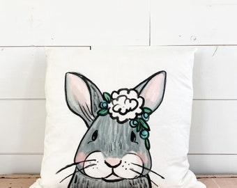 20x20  Pillow - Bunny with Flowers  / Black Plaid Back