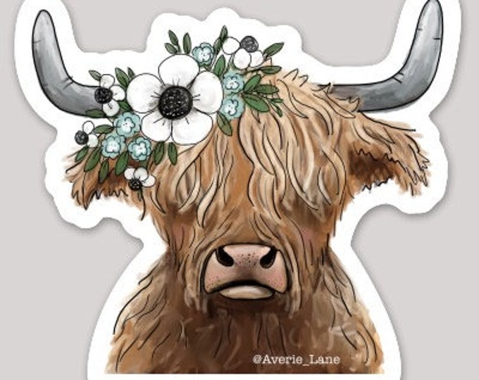 Featured listing image: Highland Cow Sticker