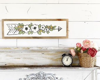 Floral Arrow - yellow & white - 6x24