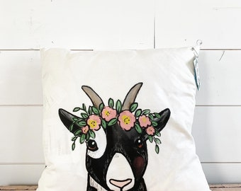 20x20  Pillow - Goat with Flowers  / Pink & Yellow Floral Back