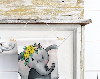 Ready to ship - Elephant - Banner/Wall Hanging/ Pennant