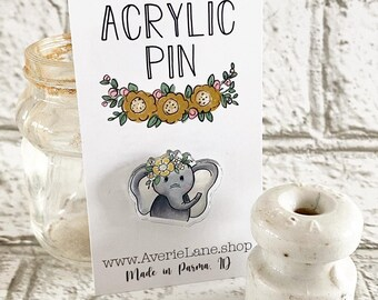 Elephant with Flowers Pin