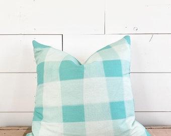 20x20 Blue Plaid Pillow