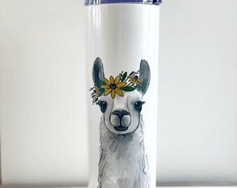 Llama with Flowers