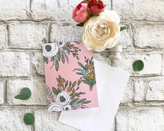 Pink Floral - Blank Greeting Card