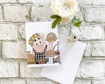Pig & Pies  - Blank Greeting Card