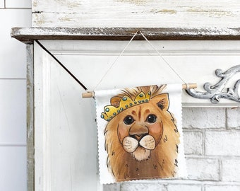 Lion with Crown - Banner/Wall Hanging/ Pennant