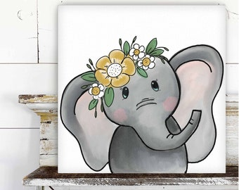 Elephant with Floral Crown Printed Canvas