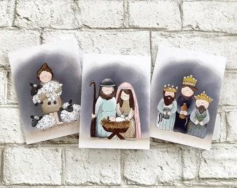 Nativity - Set of 3 - Blank Greeting Card
