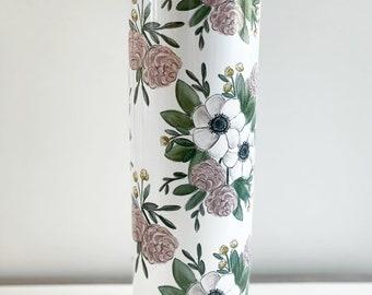 Floral Tumbler / White