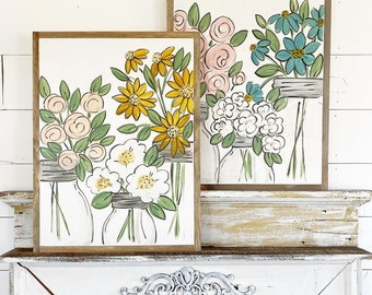 Floral Mason Jars - Choose your flowers
