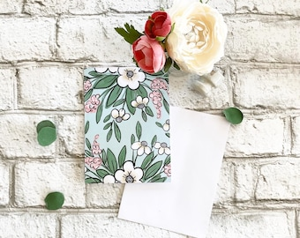 Blue Floral - Blank Greeting Card