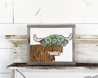 Highlander Scottish Cow with floral crown