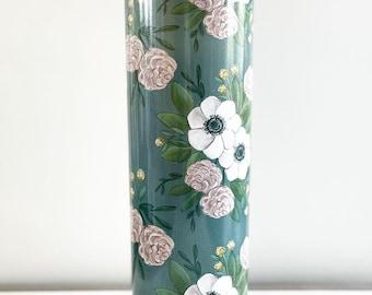 Floral Tumbler / Dark Teal
