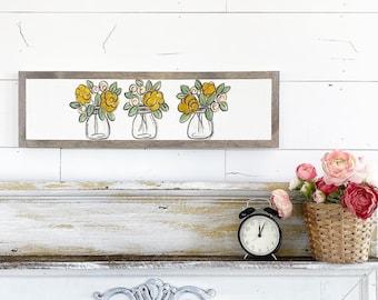 Floral Mason Jars - Yellow & pink - 6x24