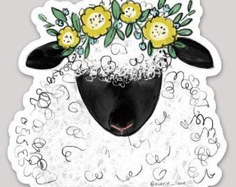 Sheep w Flowers Sticker