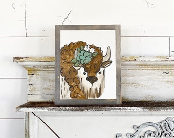 Bison with floral crown