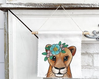 Lion with Flowers - Banner/Wall Hanging/ Pennant
