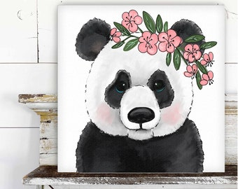 Panda with Floral Crown Printed Canvas