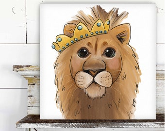Lion with Crown Printed Canvas