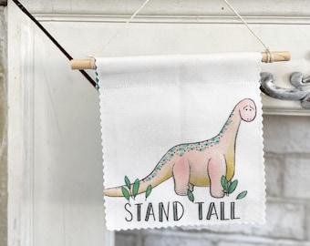 Dinosaur Wall Banner/ Brontosaurus/ Stand Tall/Door Hanger/ Fabric Banner